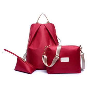 Wonderful Story 3-psc Backpack Waterproof Nylon Oxford Bags -Backpack / Shoulder Bag / Small Bag(Wine Red)