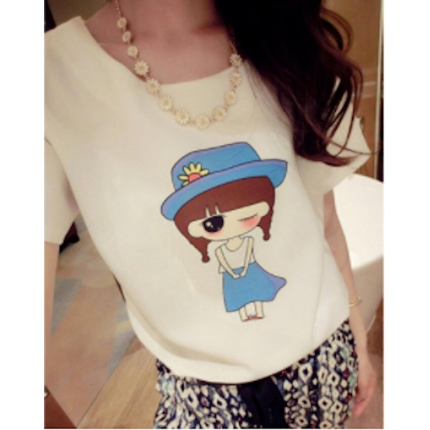 Wonderful Story The new loose collar T-shirt shoulder strap(white)freesize