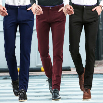 Wrinkle Free Easy Care Straight Men Blue Suit Pants Work Wear Formal Black Pants Casual Mens Business Trousers