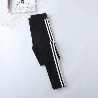 Y55 กางเกงออกกำลังกาย กางเกงเลกกิ้ง 2 แถบ (ดำ) - 4