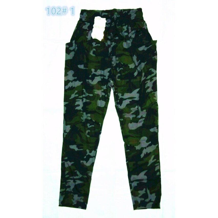Y55 shop กางเกงขายาวแฟชั่นผู้หญิง กางเกงจินนี่ลายทหาร ฟรีไซส์ 102#1
