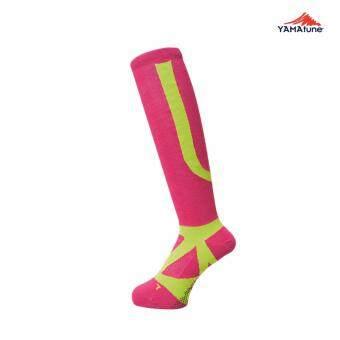 2561 Yamatune : High Socks ถุงเท้ายาวแบบรัดน่องกระชับกล้ามเนื้อ สีชมพู-เหลืองมะนาว