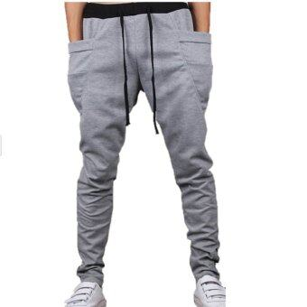 Yazilind Men Light Grey Casual Sport Sweat Pants Harem TrainingDance Baggy Jogging Trousers Slacks Size M