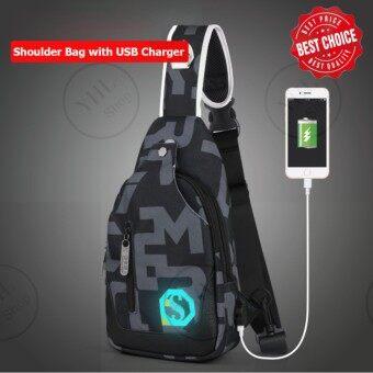 รุ่น SK01 กระเป๋าสะพายข้าง กระเป๋าเป้ กระเป๋าคาดอก กระเป๋าสะพายอก กระเป๋าสะพายไหล่ พร้อมพอร์ตยูเอสบีชาร์จแบตเตอรี่โทรศัพท์มือถือและแท๊บเล็ต Port USB (ลายตัวอักษร)