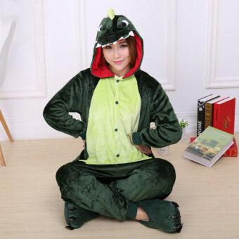 Yika Dinosaur Adult Unisex Pajamas Cosplay Costume Onesie Sleepwear S-XL (Green)