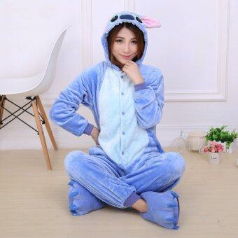Yika Stitch ชุดคอสเพลย์ชุดนอนผู้ใหญ่เพศ Onesie ชุดนอน S-XL (สีน้ำเงิน)