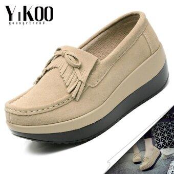 แฟชั่น YIKOO ของผู้หญิงรองเท้าส้นรองเท้าหนังแท้รองเท้าส้นรองเท้า (Beige)