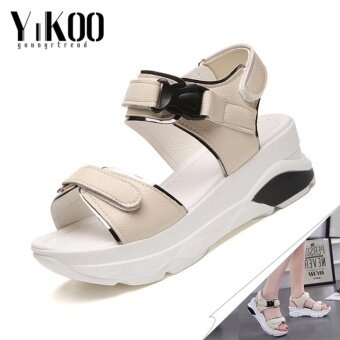 YIKOO Women's Platform Shoes Casual Breathable Wedges Sandals High Heeled Sandals (Beige) - intl