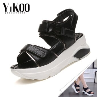 YIKOO Women's Platform Shoes Casual Breathable Wedges Sandals High Heeled Sandals (Black) - intl