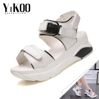 YIKOO Women's Platform Shoes Casual Breathable Wedges Sandals High Heeled Sandals (white) - intl