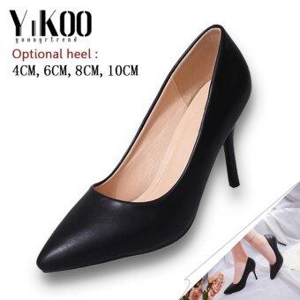 YIKOO Women's Pumps Party Shoes Pointed Toe High Heels High Heeled Sandals (Black) 8CM Heel - intl
