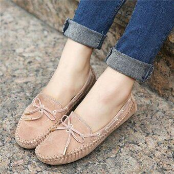 YingWei Women's Shoes Beanie Flat Shoes Bow tie Woman Ladies SoftLoafers Flats Apricot - intl