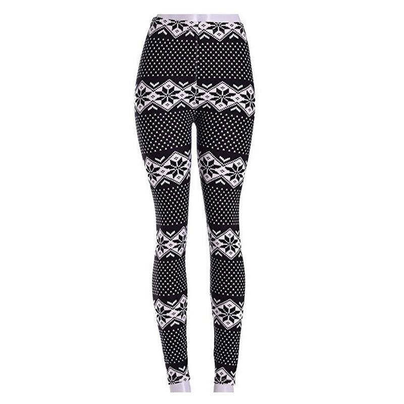 Yohanne Women Print Stretchy Casual Skinny Leggings Pants(Black snowflakes) - intl