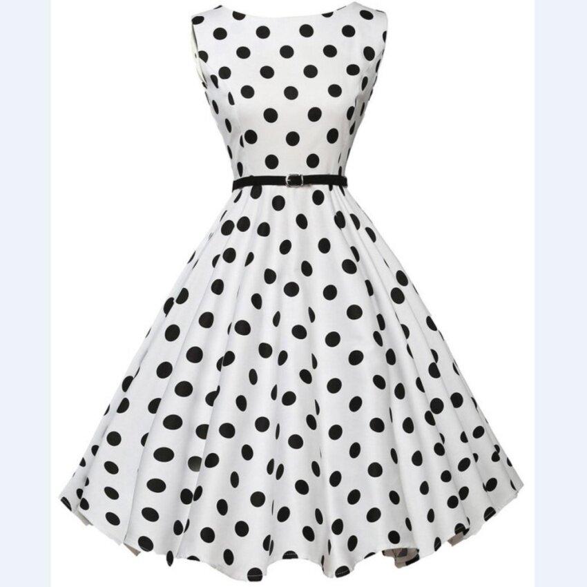 Yohanne Women Sxey BoatNeck Sleeveless Vintage Tea Dress with Belt(White) - intl