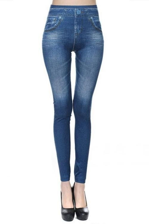 Yoins New Women High Fashion Clothing Casual Pockets At Back Bodycon Fit Blue Leggings Top - intl