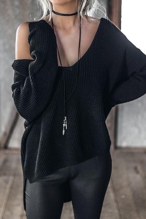 ขาย Yoins Women New High Fashion Clothing Casual Long Sleeves V-neck Irregular Hem Black Jumper Top - intl