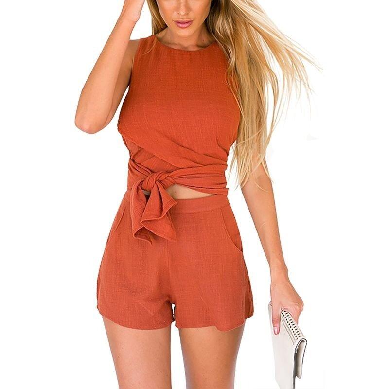 Yoins Women New High Fashion Clothing Casual Sleeveless Orange Convertible Co-ord Top - intl