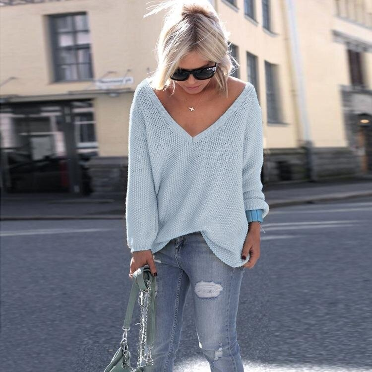 Yoins Women New High Fashion Clothing Casual V-neck Long Sleeve Loose Fit Blue Jumper Top - intl