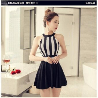youyou The new skirt type steel support size Siamese Swimsuit Cover belly thin women gather in conservative swimwear swimwear spring - intl
