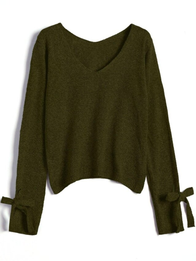 ZAFUL Bow Tied V Neck Loose Sweater(Army Green ) - intl