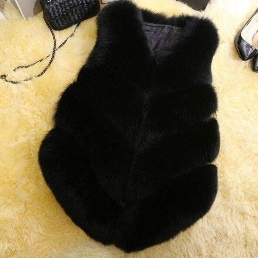 Zaful Elegant Faux Fur Coat Women Fluffy Warm Sleeveless Female Outerwear Chic Autumn Winter Coat Jacket Hairy Fashion Woman Waistcoat - intl