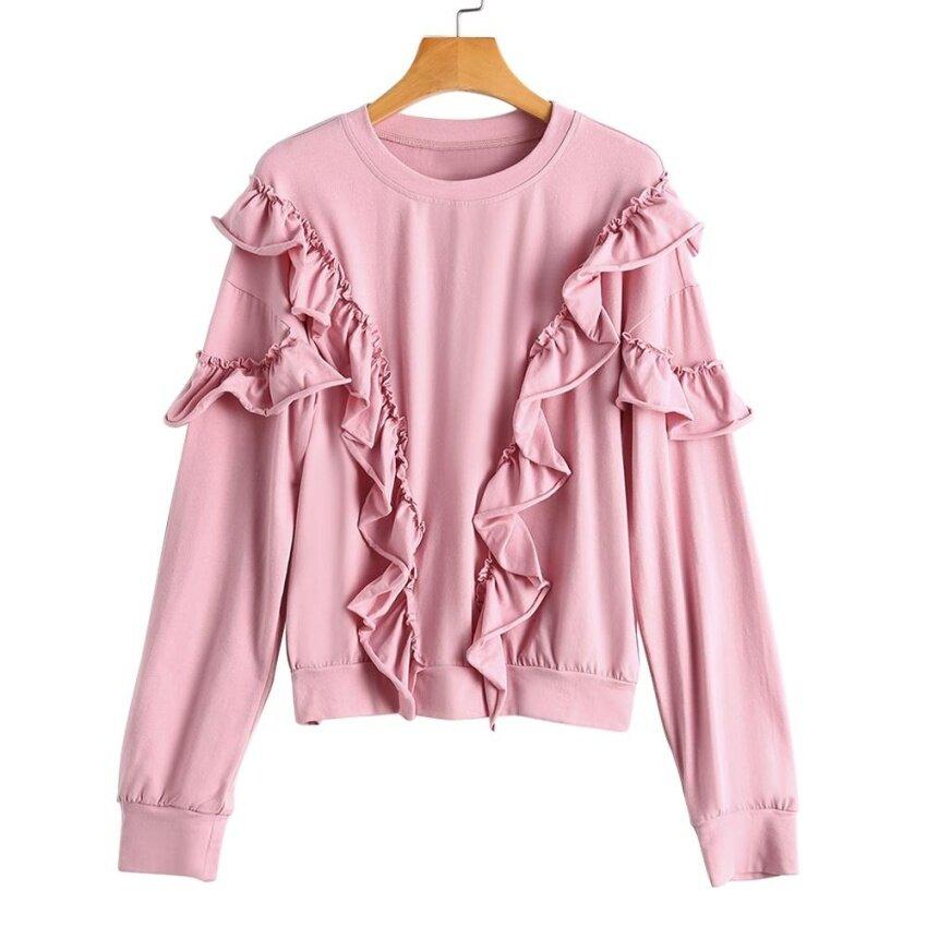 Zaful Women Ruffles Drop Shoulder Loose Sweatshirt(Pink) - intl