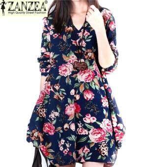 ZANZEA ใหม่สตรีเซ็กซี่สตรีลายดอกไม้ลินินแขนยาววี-คอสั้นน่ารักมินิสีน้ำเงินเข้ม