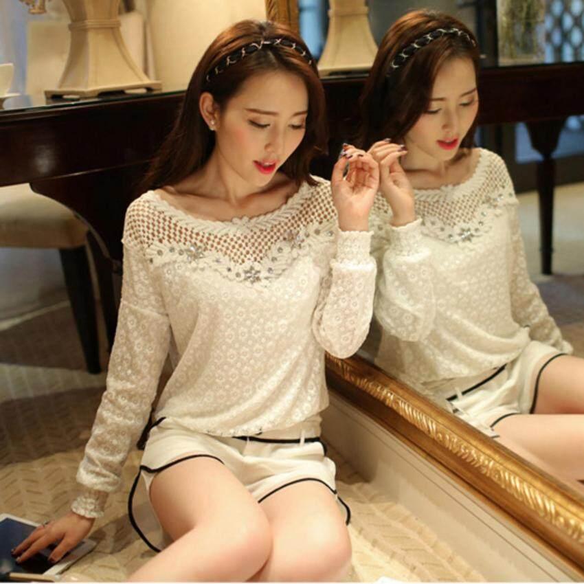 ZANZEA 2017 Spring Autumn Women Casual Lace Blouse Tops Sexy Hollow Out Crochet Beading Shirt Blusas 2 Style M-6XL Blouses White-Intl