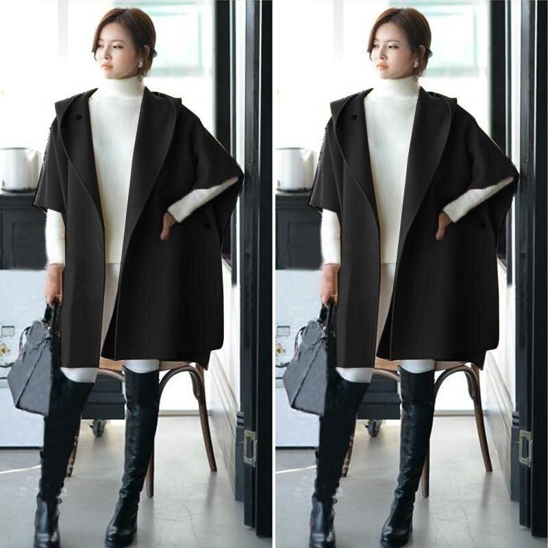 ZANZEA 2017 Winter Fall Women Woolen Coats Female Batwing Sleeve Casual Loose Hooded Outerwear Long Cloak Cardigan Oversized Black - intl