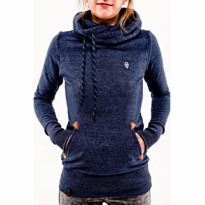 ZANZEA Autumn Winter Hoodies Sweatshirts Women Casual Female Long Sleeve Hem Split Hoody Pullovers Outwear Tops Plus Size (Blue) - intl