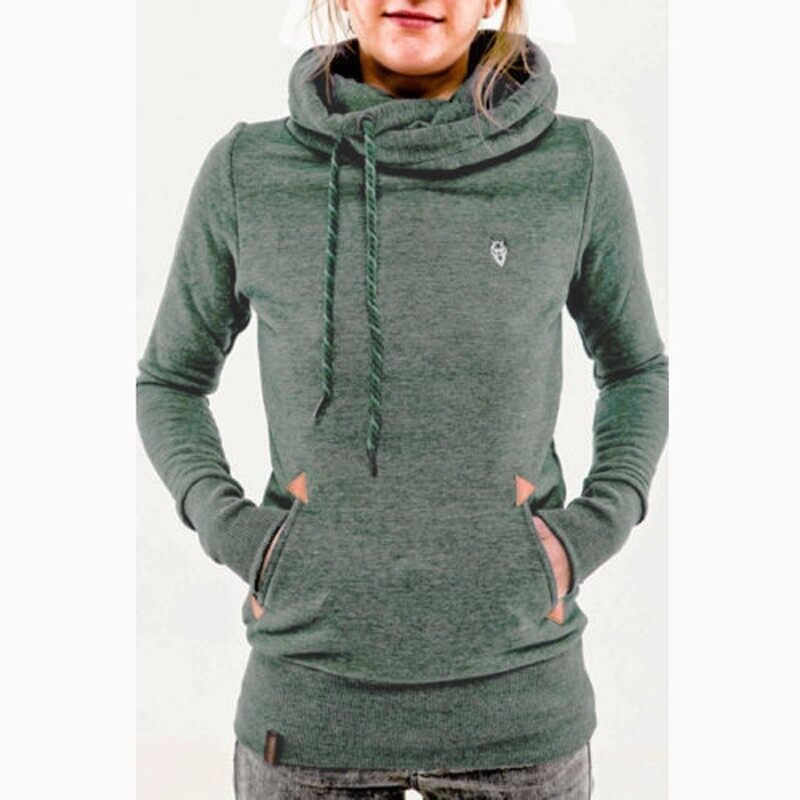 ZANZEA Autumn Winter Hoodies Sweatshirts Women Casual Female Long Sleeve Hem Split Hoody Pullovers Outwear Tops Plus Size (Green) - intl