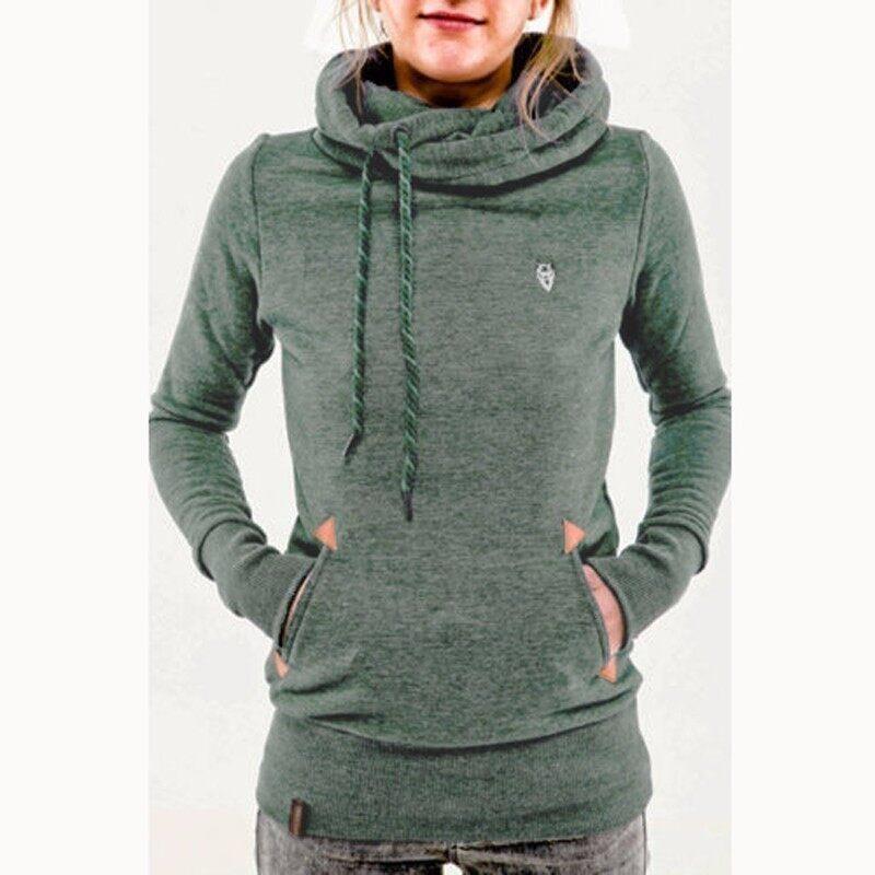 ZANZEA Autumn Winter Hoodies Sweatshirts Women Casual Female Long Sleeve Hem Split Hoody Pullovers Outwear Tops Plus Size (Green) - intl
