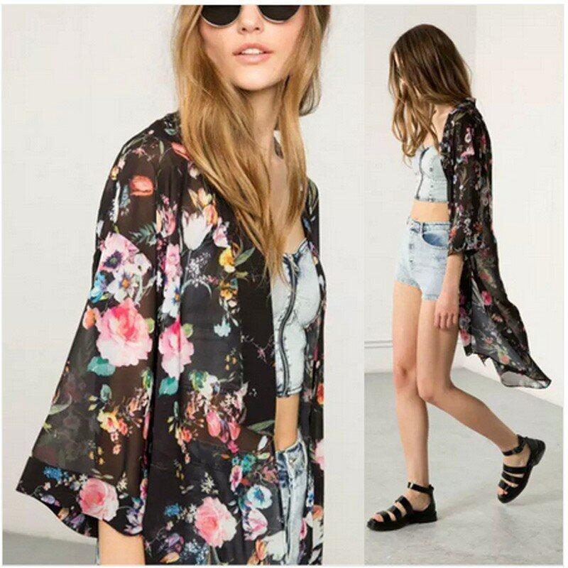 ZANZEA Bohemian Kimono Casual Loose Long Cardigan Ladies Chiffon Blouses Shirts Smock Women Vintage Outwear Tops Plus Size (Black) - intl