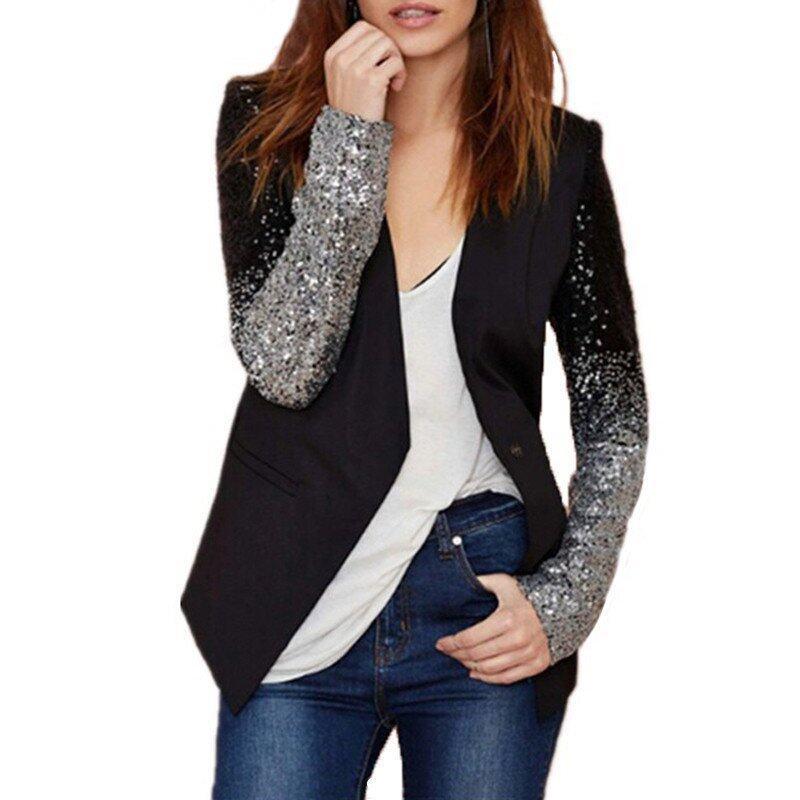 ZANZEA Cool Women Long Sleeve Sequin Blazer