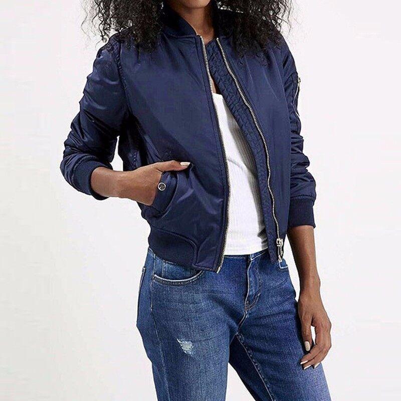 ZANZEA European Style Womens Retro Long Sleeve Coat Plus Size Chaquetas New O-Neck Short Zipper Slim Bomber Casual Jackets (Navy) - intl