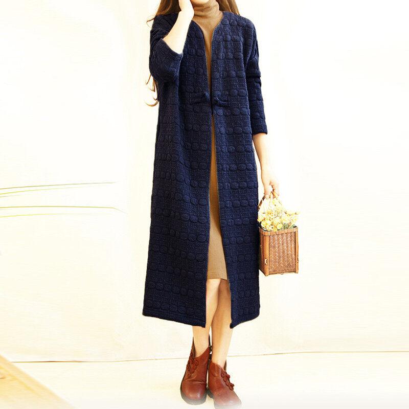 ZANZEA Fashion Women Retro Ladies Chinese Style Chunky Thick Long Cardigan Jacket Coats Outwear Shirt - intl
