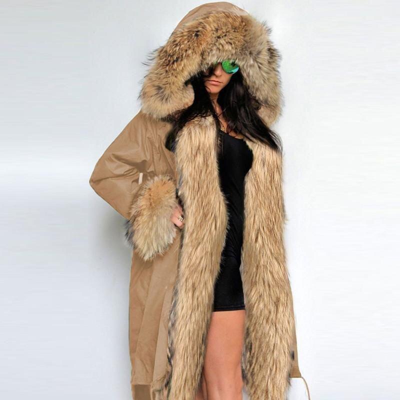 ZANZEA Fashion Women Winter Warm Fuax Fur Collar Hoodies Long Jacket Outwear Parka Coat (Khaki) - intl