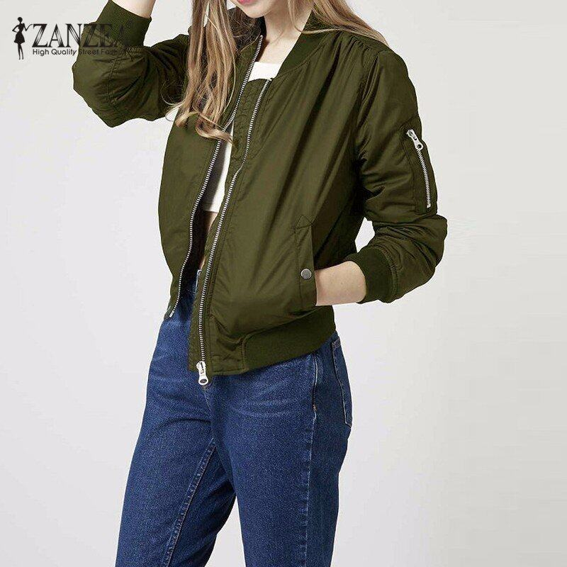 ZANZEA Long Sleeve Slim Jackets Women Autumn Winter Vintage Stand Collar Celeb Bomber Coats Casual Solid Outwear Plus Size(Army Green) - intl