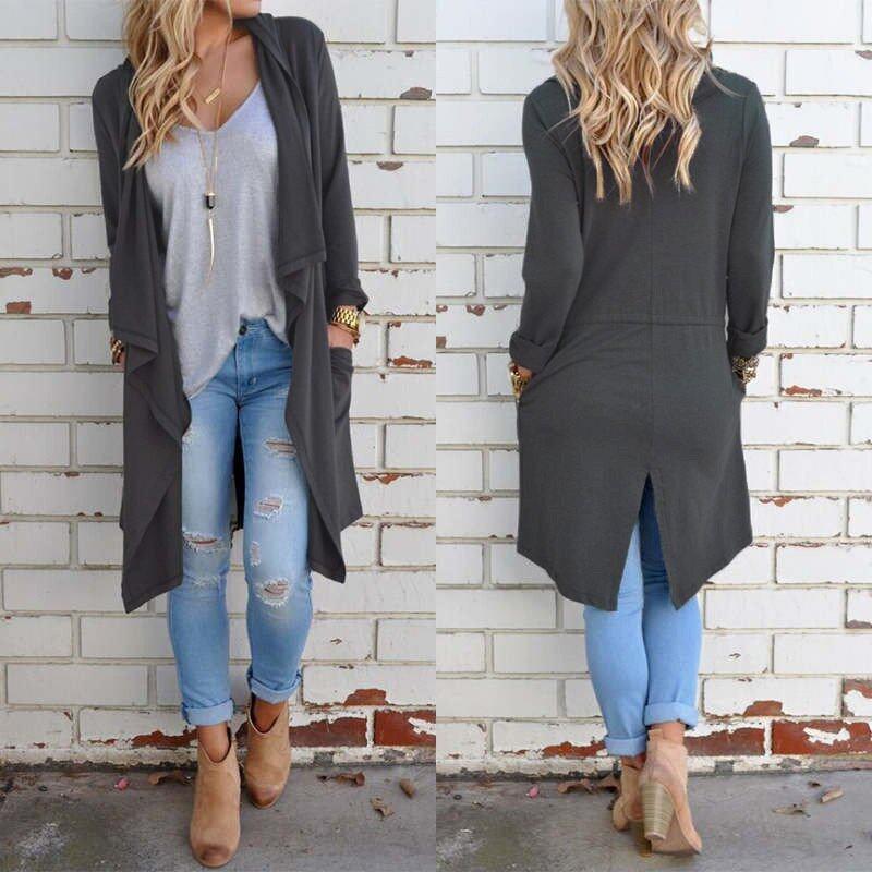 ZANZEA S-5XL Zanzea Women's Casual Loose Long Sleeve Tops Cardigan Outwear Coat Jacket - intl