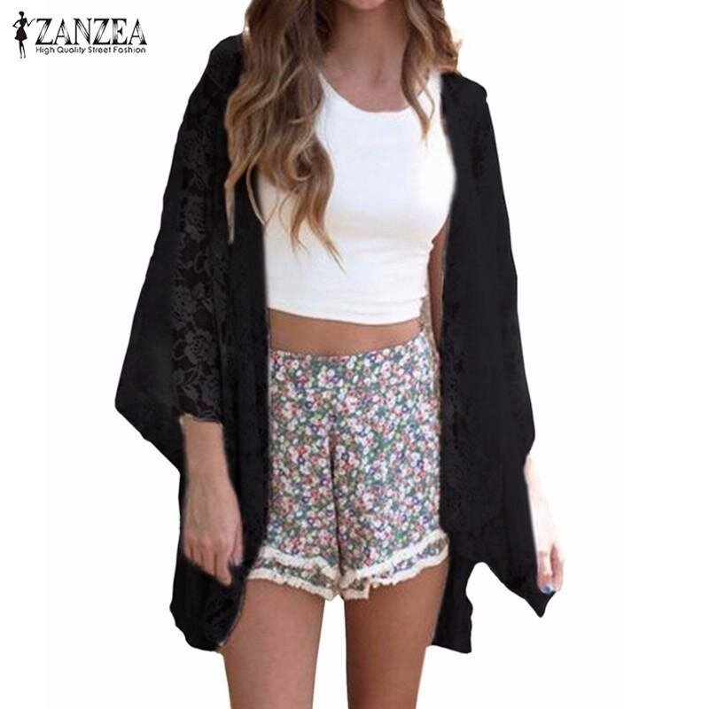 ZANZEA Summer Women Elegant Cardigan Sexy Lace Embroidery Kimono Hollow Out Solid Blouses Shirts Beach Outwear Blusas Tops (Black) - intl