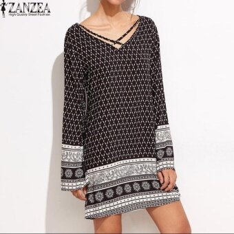 ZANZEA V-Neck Long Sleeve Womens Floral Print Casual Summer Beach Loose Vintage Straight Mini Dress Party Plus Size - intl