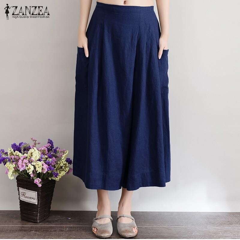 ZANZEA Women Fashion Linen Pants Casual Loose Trousers (Navy) - intl