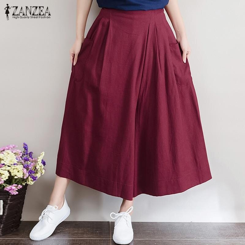 ZANZEA Women Fashion Linen Pants Casual Loose Trousers (Wine Red) - intl