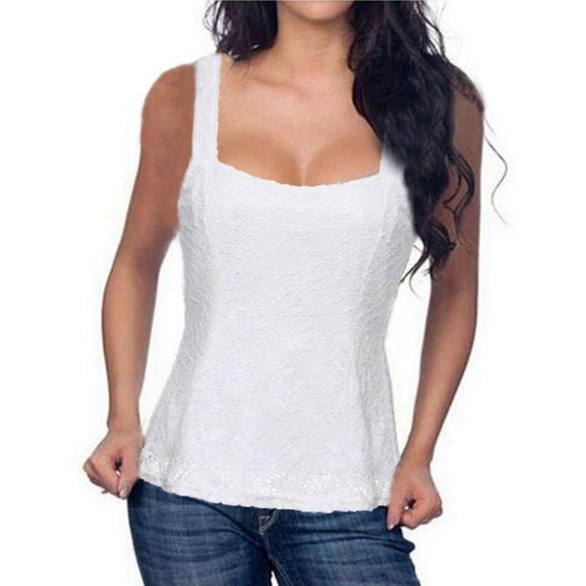 ZANZEA Women Lace Floral Bodycon Strap Tank Top Vest T-shirt Blouse Waistcoats White - intl
