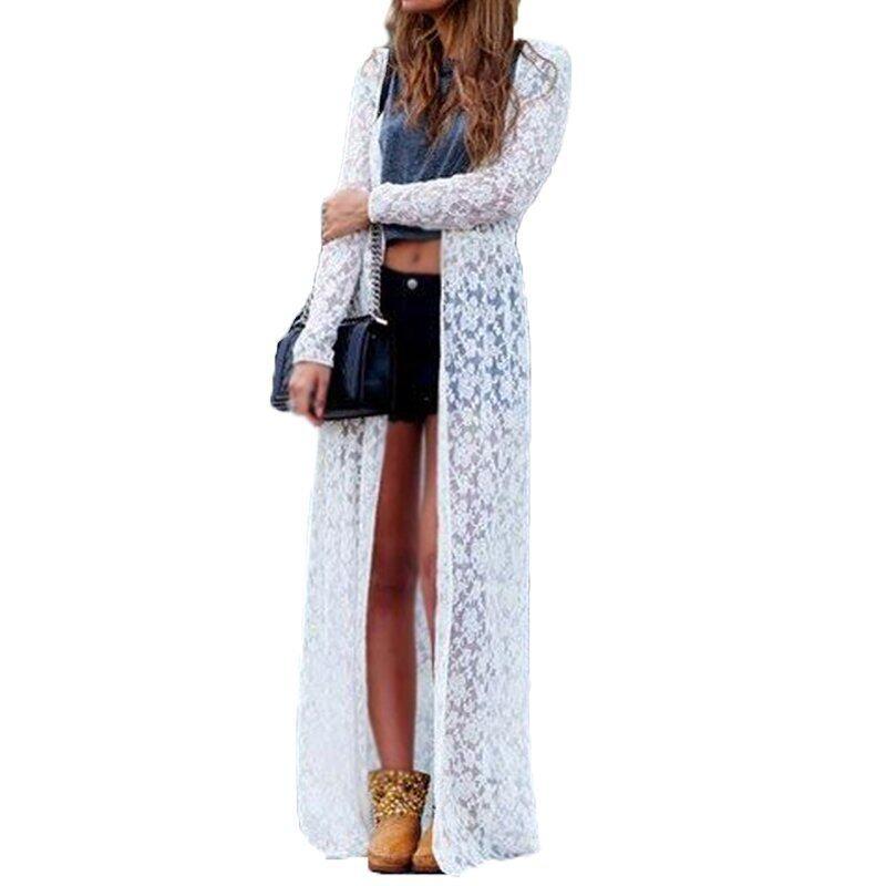 Zanzea Women Lace Floral Boho Cardigan Jacket Coat Kimono Kaftan White