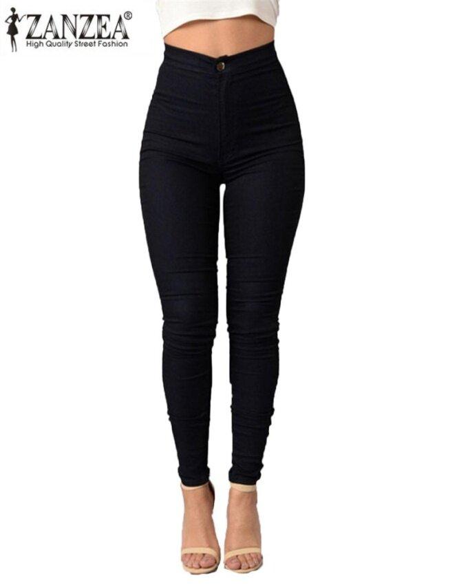 ZANZEA Women's Casual Slim High Waist Solid Stretchy Skinny Tights Pencil Pants Black - intl