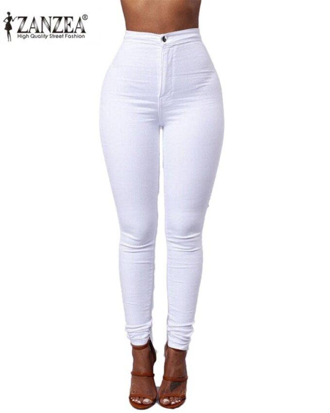 ZANZEA Women's Casual Slim High Waist Solid Stretchy Skinny Tights Pencil Pants White - intl