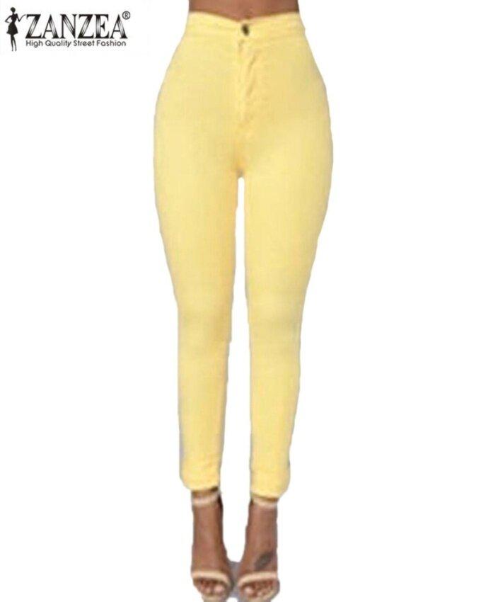 ZANZEA Women's Casual Slim High Waist Solid Stretchy Skinny Tights Pencil Pants Yellow - intl