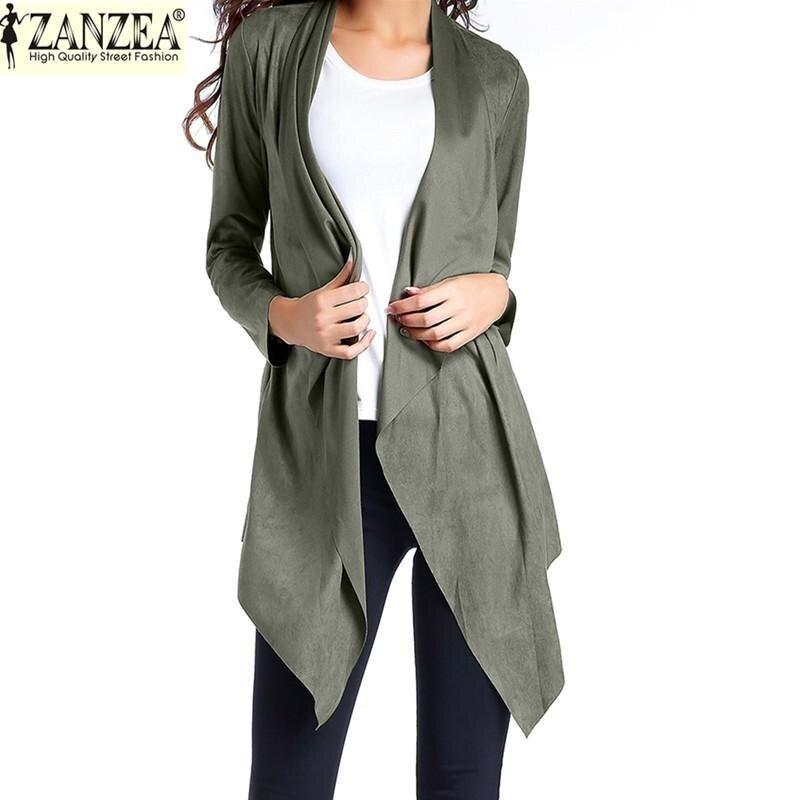 ZANZEA Women's Waterfall Cardigan Draped Open Front Long Sleeve Asymmetrical Hem Pocket Blazer Tops (Army Green) - intl