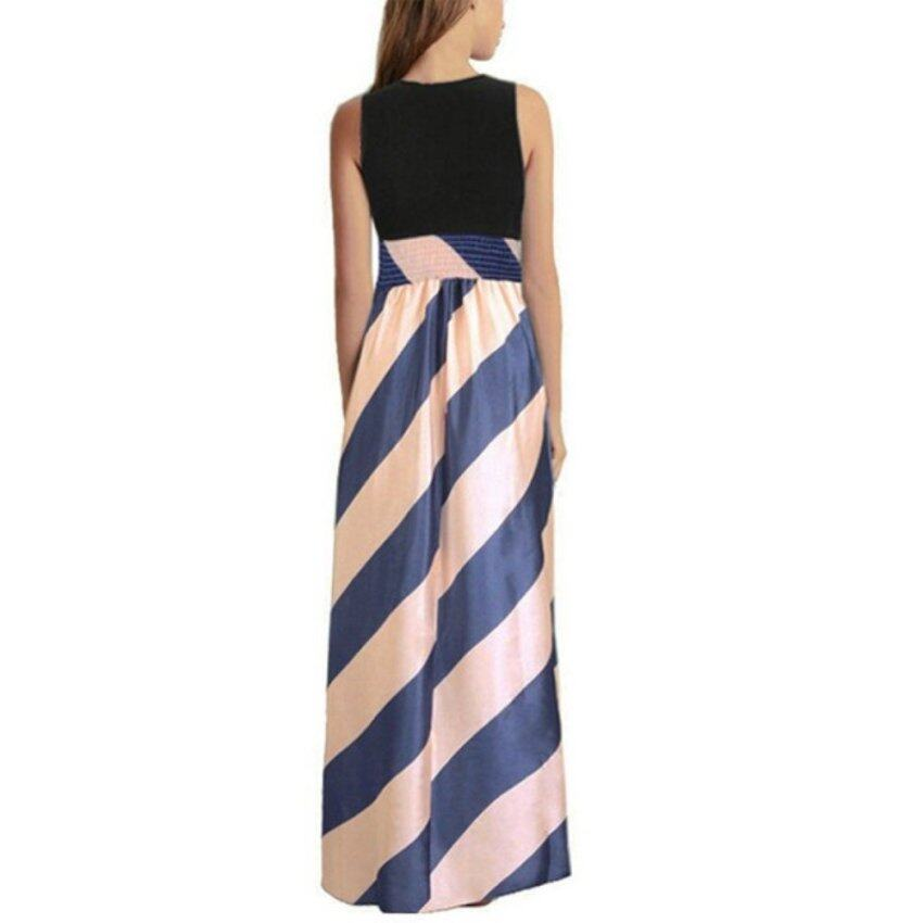 ZANZEA Womens Boho Casual Stripe Long Dress Evening Party Maxi Chiffon Skirt